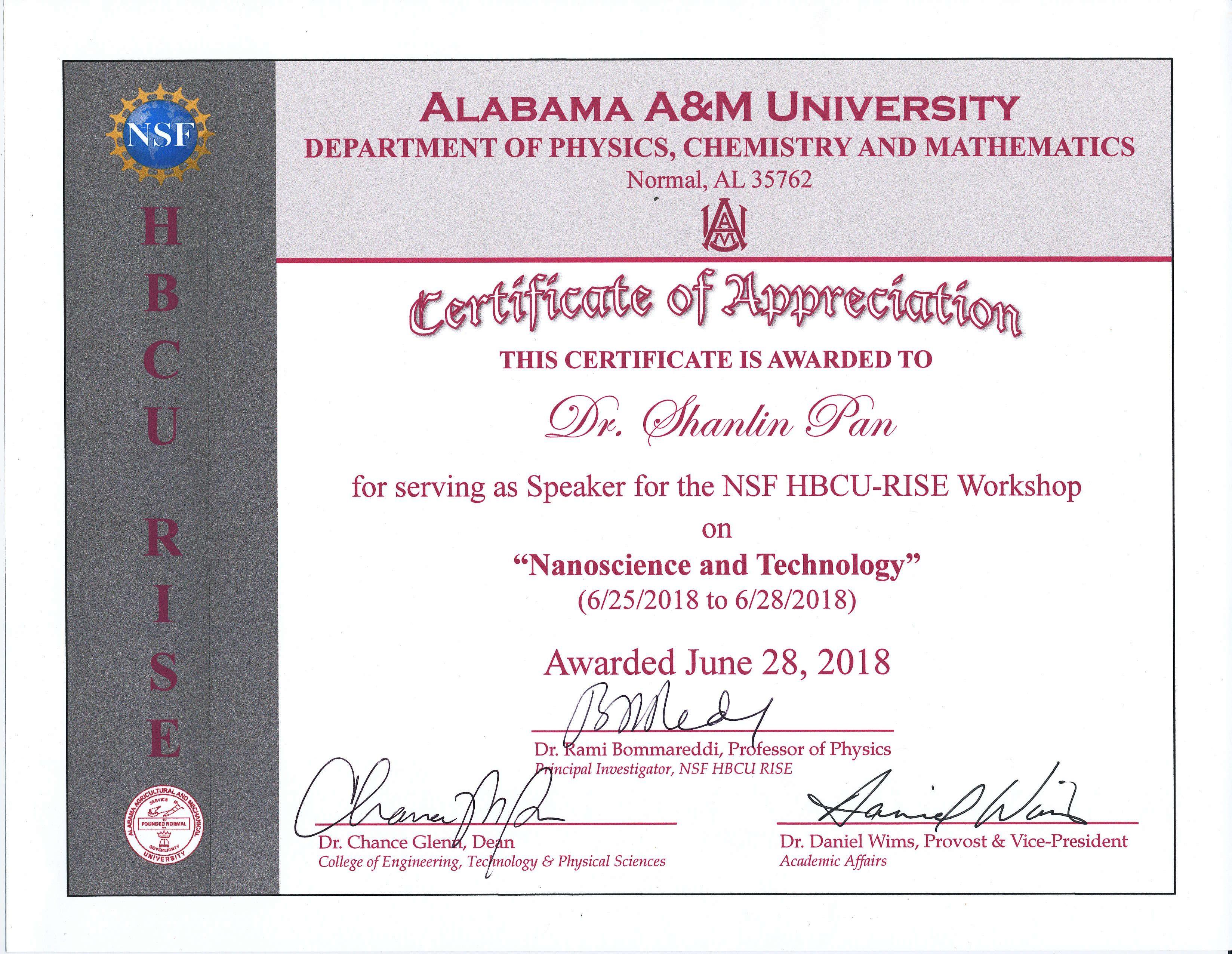 Dr  Pan delivered a presentation on electrochemistry nanosceince and